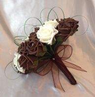 ARTIFICIAL WEDDING FLOWERS CHOCOLATE BROWN IVORY FOAM ROSE BRIDE WEDDING BOUQUET